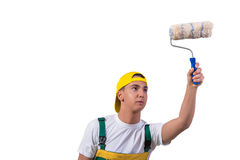 The young repairman painter with roller isolated on white Stock Images