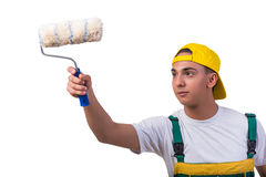 The young repairman painter with roller isolated on white Royalty Free Stock Photography