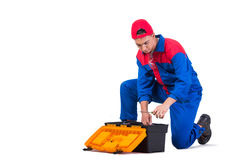 The young repairman with wrench spanner isolated on white Royalty Free Stock Image
