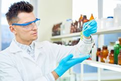 Young Researcher with GMO Lettuce Sample. Head and shoulders portrait of handsome young researcher wearing safety goggles and white coat analyzing quality of GMO royalty free stock images