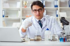 Young researcher scientist doing a water test contamination expe Royalty Free Stock Photos