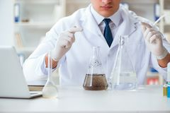 Young researcher scientist doing a water test contamination expe. Riment in the laboratory Royalty Free Stock Photography