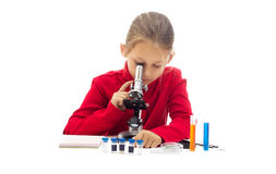 Young researcher. On a white background isolated Royalty Free Stock Image