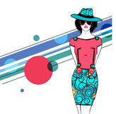 Young retro girl for vintage fashion. Royalty Free Stock Photos