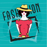 Young retro girl for vintage fashion. Royalty Free Stock Images