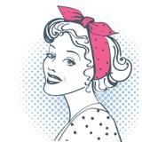 Young retro woman portrait. Vector pop art illustration isolated on white. Young retro woman portrait with vintage clothes. Vector pop art illustration isolated vector illustration