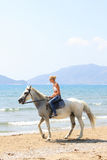 Young rider on the beach Royalty Free Stock Images