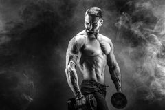 Young ripped man bodybuilder with perfect abs, shoulders,biceps,. Triceps and chest posing with a dumbbell, smoke studio shoot Royalty Free Stock Photography