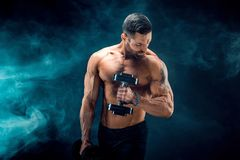 Young ripped man bodybuilder with perfect abs, shoulders,biceps, triceps and chest posing with a dumbbell. Smoke studio shoot Royalty Free Stock Photos