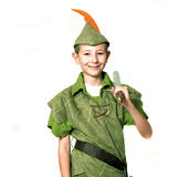 Young Robin Hood. With sword isolated over white Royalty Free Stock Photo