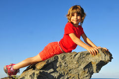 Young rock-climber Royalty Free Stock Photo
