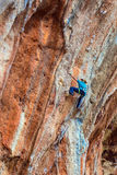 Young Rock Climber ascending steep colorful rocky Wall Lead Climbing Royalty Free Stock Images