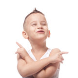 Young rock fan. Adorable young rock fan on isolated white Stock Photos