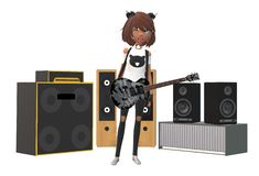 A young rock guitar player girl with sound music amplifiers and speakers in the backdrop. A computer generated illustration image of a rock guitar player girl vector illustration