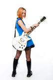 Young rock star with a guitar stock photo