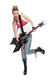 Young rock woman with electric guitar stock images