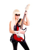 Young rock woman play guitar isolated over white Stock Image