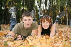 Young roller couple Royalty Free Stock Images