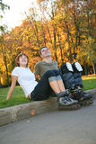 Young roller couple Stock Photos