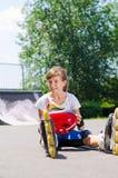Young roller skater enjoying her summer vacation Stock Photos