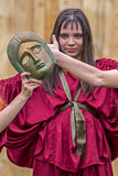 Young Roman girl in one antical theatrical demonstration Stock Image