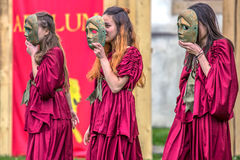 Young Roman girls in one antical theatrical demonstration Stock Image