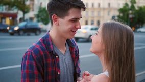 Romance infatuation couple flirt sweet teenagers stock video