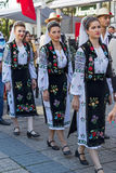 Young Romanian dancers in traditional costume 2 Royalty Free Stock Photo