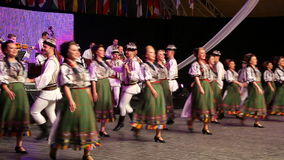 Young Romanian dancers in traditional costume stock footage