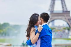 Young romantic Asian couple in Paris Royalty Free Stock Photography