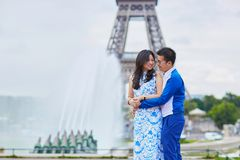 Young romantic Asian couple in Paris Stock Images