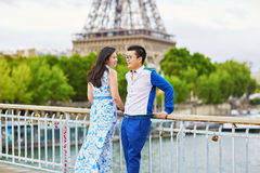 Young romantic Asian couple in Paris Royalty Free Stock Photos
