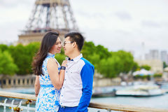 Young romantic Asian couple in Paris Royalty Free Stock Images