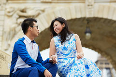 Young romantic Asian couple in Paris, France Royalty Free Stock Photo