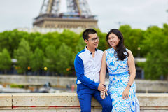 Young romantic Asian couple in Paris, France Royalty Free Stock Images