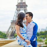 Young romantic Asian couple in Paris, France Stock Photos