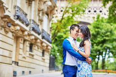 Young romantic Asian couple in Paris, France Royalty Free Stock Image