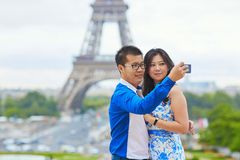 Young romantic Asian couple in Paris Royalty Free Stock Photo