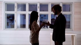 Young romantic couple celebrating with glasses of red wine.  stock video