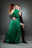 Young romantic couple dancing tango Royalty Free Stock Image