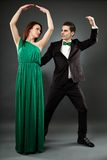 Young romantic couple dancing tango Royalty Free Stock Images