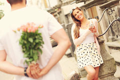 Young romantic couple on a date in the city Stock Image