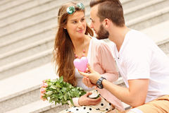 Young romantic couple on a date in the city Stock Photography