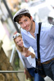 Young romantic couple on a date in town Stock Photography