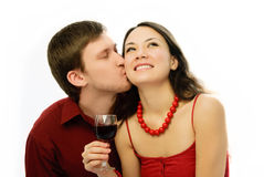 Young romantic couple drinking vine Royalty Free Stock Image