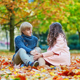 Young romantic couple on a fall day Stock Images