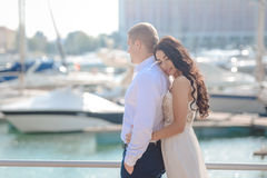 Young romantic couple having date and hugging on Royalty Free Stock Photos
