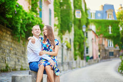 Young romantic couple having a date on Montmartre Stock Photography