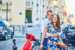 Young romantic couple having a date in Paris, France Royalty Free Stock Photography