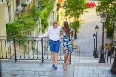 Young romantic couple having a date in Paris, France Stock Photography